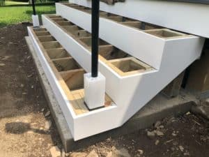 PVC trim used for stair riser trim