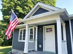 Porch with PVC trim column wraps and molding