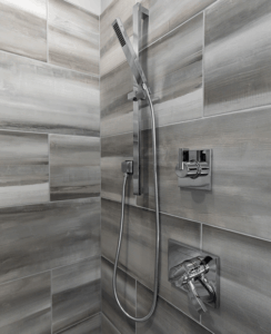 Chrome shower fixtures
