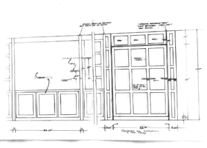 A hand sketch of the cabinetry layout for the wall bed built-ins.